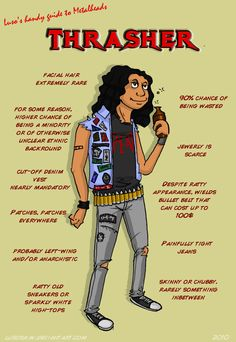 Yeah, this was me in high school for the most part. Unfortunately, I was in high school when the top bands were the Go-Gos, B-52's and Michael Jackson! - Metal 101- The Thrasher by LusoSkav.deviantart.com on @deviantART