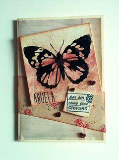 """Tarjeta """"Gracias abuela"""" para reto """"Crea tu propio papel decorado"""" para la marca www.laparejacreativa.com/blog"""