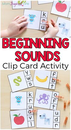 Beginning sounds clip cards help children learn letters, letter sounds and develop fine motor skills. This literacy center idea is perfect for preschool and kindergarten. Kindergarten Learning, Preschool Learning Activities, Alphabet Activities, Kids Learning, Beginning Sounds Kindergarten, Educational Activities, Preschool Ideas, Teaching Ideas, Phonological Awareness Activities