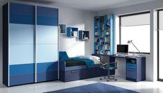 propuesta de dormitorio juvenil  en elegante gama de azules