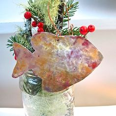 Copper Christmas Rustic Metal Fish Ornament by RoughMagicHolidays, $12.00