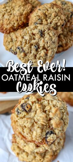 These BEST Oatmeal Raisin Cookies are a staple in any cookie jar. Soft and chewy These BEST Oatmeal Raisin Cookies are a staple in any cookie jar. Soft and chewy in the middle with a crisp edge these cookies are the perfect treat! Best Oatmeal Raisin Cookies, Oatmeal Cookie Recipes, Oatmeal Dessert, Desserts With Oatmeal, Oatmeal Cookies Gluten Free, Oatmeal Raison Cookies, Soft Chewy Oatmeal Cookies, Raisin Cookie Recipe, Biscuits