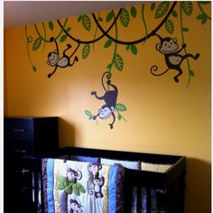 Jungle Name With Monkey And Vine Wall Decal By Xpressionsthatstick Via Etsy Nursery Baby Shower Themes Pinterest Decals