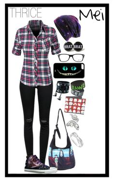 """""""THRICE's Mei: Visiting Home"""" by minyxxngi ❤ liked on Polyvore featuring moda, Ghibli, J Brand, LE3NO, HVBAO, Funk Plus, Just Cavalli e Ray-Ban"""