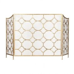 Our Chelsea fire screen with a stylish trellis work design and subtle gilding from Barnbury Home is the ideal way to dress your fireplace throughout the summer and perfectly practical for the winter. Gold Fireplace Screen, Fireplace Screens, Art Deco Furniture, French Furniture, Sweetpea And Willow, French Provincial Home, Living Etc, Living Rooms, Fire Surround