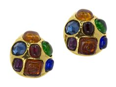 Chanel Vintage Gripoix Multi-Colored Clip On Earrings
