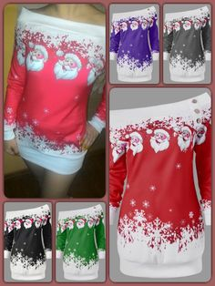 Gamiss Causal T-Shirts Santa Claus Snowflake Skew Neck Pullover Trouser, Plus Size Outfits, Snowflakes, Attitude, Curvy, Cover Up, Pullover, Sweaters, Christmas