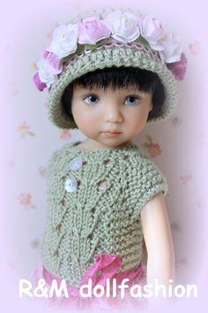 """R&M DOLLFASHION EASTER LINE OOAK handknit set for Effner Little Darling 13"""" doll"""