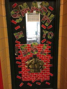 Fun Superhero classroom door decoration.