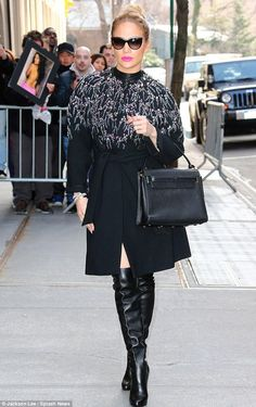 Jennifer Lopez wearing Valentino My Rockstud Bag, Jenny Packham Fall 2013 Coat and Christian Louboutin Ladyboot Platform Boots