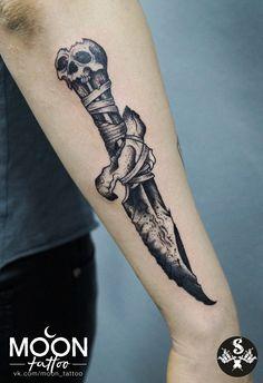 Dagger tattoo on forearm blackwork by Elya Mescheryagina Badass Tattoos, Tattoos For Guys, Cool Tattoos, Mini Tattoos, Forarm Tattoos, Body Art Tattoos, Sleeve Tattoos, Knife Tattoo, Sword Tattoo