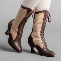 Camille Edwardian Boots (Brown/Tan)(1890-1930) – American Duchess Leather Collar, Leather Heels, Calf Leather, Tall Boots, Lace Up Boots, Brown Boots, Black Boots, Calf Muscles, Western Dresses