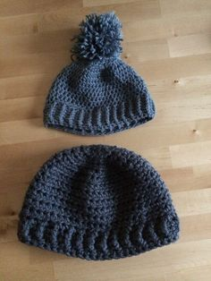 Matching hats for baby and dad!   Crocheted - J hook for baby and N hook for dad