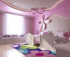 Kids furniture girls room decor ideas for 2019 Light Pink Bedrooms, Pink Bedroom Walls, Pink Walls, House Ceiling Design, Bedroom False Ceiling Design, Bedroom Ceiling, Girl Bedroom Designs, Girls Bedroom, Gypsum Board Design
