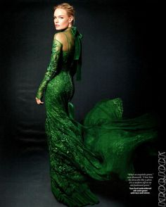 Tom Ford, Green Silk Satin Gown with Lace and Velvet ---- #dress