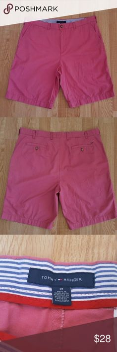 "Tommy Hilfiger Flat front  men shorts Sz 38 B5 In great condition Tommy Hilfiger  Mens Casual Shorts Sz 38 Flat front dark salmon Color  Measurements (Approximate) Insean:10"" Waist:19"" Material:100% cotton Condition; Great condition no flaws. Tommy Hilfiger Shorts Flat Front"