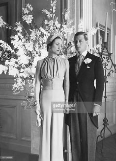 The Duke and Duchess of Windsor at the Chateau de Cande pose for a portrait after their wedding, Monts, France, June 3, 1937. She is the former Wallis Simpson, an American socialite, and he was King Edward VIII of England, before abdicating to marry her.