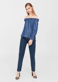 Off shoulder denim blouse | MANGO