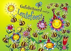 Communie kaart - woohoo-bloemetjes-bijtjes-en-lentefeest