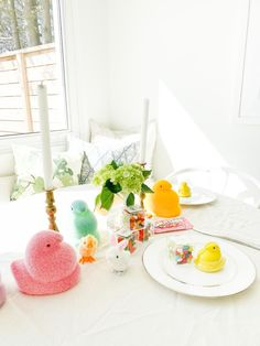 Flocked Peeps, Super sweet table setting. Goodies from The Penny Paper Co. (www.PennyPaperCo.com) Easter Table Settings, Papers Co, Celebrations, Peeps, Goodies, Table Decorations, Sweet, Furniture, Home Decor
