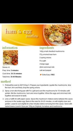Slimming world ham muffin Low Carb Recipes, Snack Recipes, Healthy Recipes, Snacks, Slimming World Breakfast, Healthy Food, Yummy Food, Slimming World Recipes