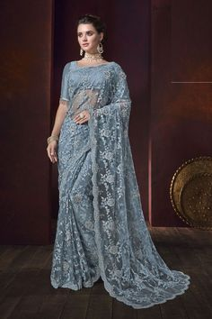 select from a wide range of designer sarees online. Buy this net embroidered and resham work classic saree. Indian Dresses, Indian Outfits, Indian Clothes, Indian Sarees Online, Designer Sarees Online, Net Saree, Party Wear Sarees, Saree Collection, Designer Collection