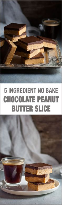 Ingredient Chocolate Peanut Butter Bars (NO BAKE!) Chocolate Peanut Butter Slice - NO BAKE and just 5 ingredients! Tastes even better than Reece's.Chocolate Peanut Butter Slice - NO BAKE and just 5 ingredients! Tastes even better than Reece's. Peanut Butter Slice, Peanut Butter Chocolate Bars, Peanut Butter Recipes, Easy Desserts, Delicious Desserts, Dessert Recipes, Yummy Food, Baking Desserts, Cake Recipes