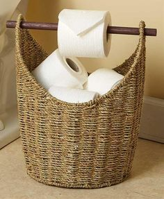 One of the important accessories that you should consider in your bathroom is the toilet paper holder. It could add a touch of style and brighten your dull bathroom. Selecting a unique and eye-catchy holder could make a huge difference… Continue Reading → Small Bathroom Storage, Bathroom Organisation, Home Organization, Small Storage, Organizing Ideas, Extra Storage, Basket Organization, Organized Bathroom, Kitchen Storage