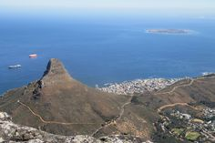 "The ""Lions Head"" from the top of Table Mountain with Robyn Island in the backgroud"