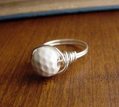 Ceramic Golf Ball Wire Wrapped Ring, custom size