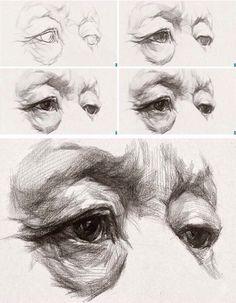 академический рисунок. графический набросок глаз. поэтапно.