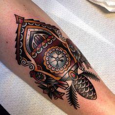 Cuckoo clock @salonserpenttattoo #traditional #tattoo...