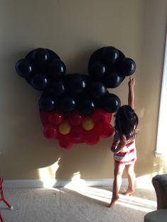 Mickey Mouse Balloon Pinata, ready for poking! Cake Pops Mickey Mouse, Mickey Mouse Balloons, Minnie Mouse Birthday Cakes, Mickey Mouse Clubhouse Birthday Party, Mickey Mouse Parties, Mickey Birthday, Mickey Party, Disney Parties, Mickey Cakes