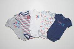 $21.99 Hurley onesies in blue, grey, red, and white