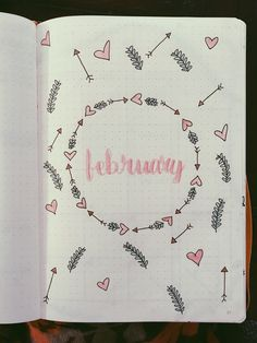 February cover page bullet journal cover page, Planner Bullet Journal, Bullet Journal Notes, Bullet Journal Aesthetic, Bullet Journal Themes, Bullet Journal Spread, Bullet Journal Layout, Bullet Journal Inspiration, Bullet Journal Headers, Journal Ideas