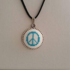 Cross stitch Necklace Cross stitch Pendant Peace Cross