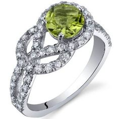 Amazon.com: Gracefully Exquisite 0.75 Carats Peridot Ring in Sterling Silver Rhodium Nickel Finish Size 5 to 9: Peora: Jewelry