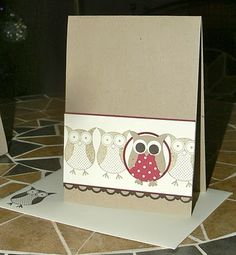 KB Papercraft: owl punch - Stampin' Up! Scrapbooking, Scrapbook Cards, Spellbinders Cards, Stampin Up Cards, Owl Crafts, Paper Crafts, Owl Punch Cards, Owl Card, Paper Owls