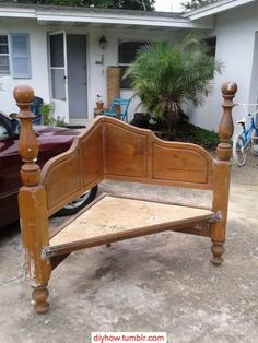 What a great use for an old headboard! These are easily found at thrift and consignment stores.