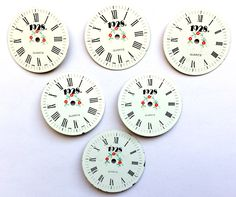 Assorted 1928 Watch Faces, Designer Watch Faces, Red Floral Pattern, Steampunk, Vintage Jewelry Supplies, B'sue Boutiques,  33mm, Item0667 by bsueboutiquesupplies on Etsy https://www.etsy.com/listing/512881647/assorted-1928-watch-faces-designer-watch