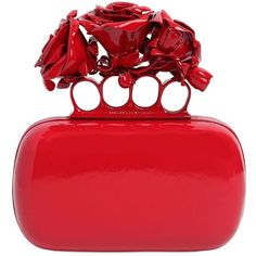 Alexander Mcqueen Women Roses Ornament Knuckle Box Clutch ($2,775) found on Polyvore featuring women's fashion, bags, handbags, clutches, purses, bolsas, red, rose handbag, alexander mcqueen and alexander mcqueen purse