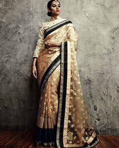 Beige Embroidered Brasso and Net Saree Bollywood Sarees Online, Bollywood Lehenga, Silk Sarees Online, Indian Attire, Indian Outfits, Bridesmaid Saree, Latest Designer Sarees, Net Saree, Pure Silk Sarees