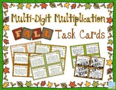 Fall & Halloween Multi-Digit Multiplication Task Cards. A set of 40 multi-digit multiplication word problems task cards with a festive fall theme! 24 of the cards have a general fall theme with a bonus 16 cards with a fun Halloween theme!$