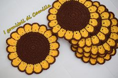 Image Article – Page 764978686680902657 Diy Crochet Flowers, Crochet Sunflower, Crochet Flower Patterns, Crochet Chart, Crochet Motif, Crochet Doilies, Crochet Placemats, Crochet Potholders, Crochet Home