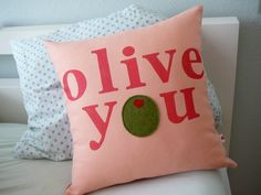 Perfect! Olive You - in Peach  - Pillow Cover. $40.00, via Etsy.