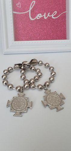 Etsy Jewelry, Jewelry Gifts, Handmade Jewelry, Handmade Items, Chunky Silver Bracelet, Silver Bracelets, 3 Shop, Love To Shop, St Benedict Bracelet