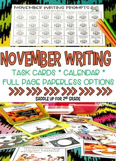 This set of 28 November themed writing prompts. These fall and Thanksgiving themed writing prompts come in a task card, calendar and full page version. Each card has a kid friendly writing prompt and a real life photo to match. Graphic organizers and writing paper are included. These are the perfect addition to your writing center.
