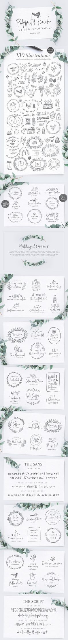 Poppit & Finch Fonts & Illustrations. Best Fonts