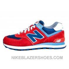 73a634f4f024 New Balance 574 Mens Fire Red Royal Blue Cheap