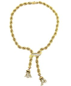 Mid Century 18k Gold Diamond Tassel Bolo Necklace Featured in our upcoming auction on November 2, 2015 11:00AM EST!